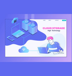 Isometric cloud computing services and technology vector