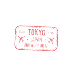 japan border control seal isolated visa stamp vector image