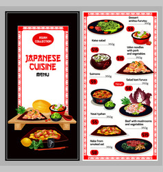 Japanese cuisine suhsi and noodle bento dish menu vector