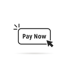 Linear simple black pay now button vector