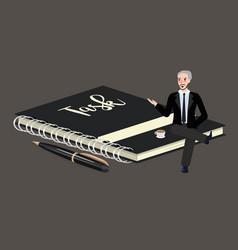 Man sitting on big book of task list businessman vector
