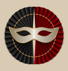 mask with black and red fans vector image