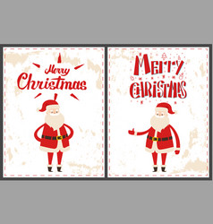 Merry christmas santa claus pointing on something vector
