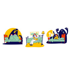 nightmares concept scared children sitting on bed vector image