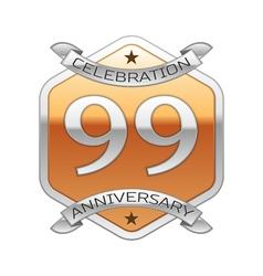 Ninety nine years anniversary celebration silver vector