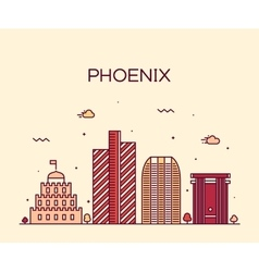 Phoenix skyline trendy linear vector image