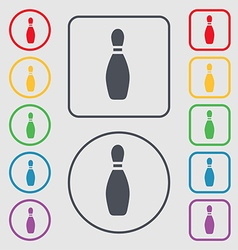 Pin bowling icon sign symbol on the Round and vector