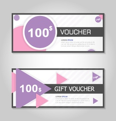 Pink and purple gift voucher template layout set vector