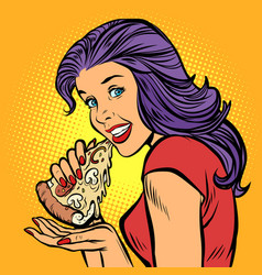 Pizza hungry woman eating fast food vector