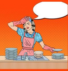 pop art bored woman washing dishes at kitchen vector image