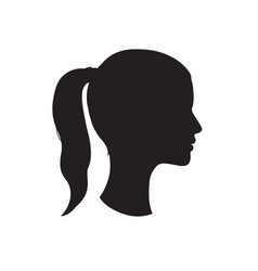 Pretty girl profile woman face silhouette portrait vector