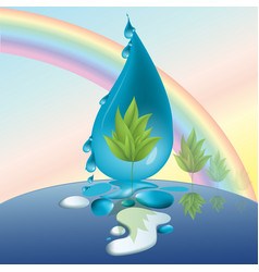 protect nature wood drops rainbow eco vector image