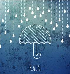 Raining and umbrella on a vintage blur background vector