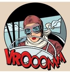 Retro aviator woman on plane vector