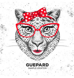 Retro hipster animal guepard hand drawing muzzle vector
