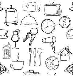 seamless doodle hotel pattern vector image