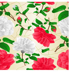 seamless texture red and white flowers camellia vector image