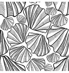 Seashell seamless pattern summer holiday marine vector