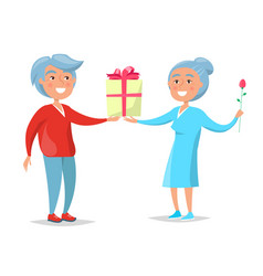 Senior couple give presents to each other vector