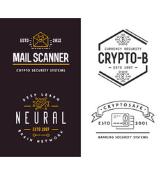 set cyber security signs or banners with icon vector image