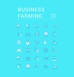 set line icons business farming vector image