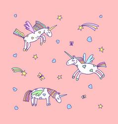set of cute cartoon unicorn vector image