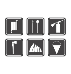 set of firefighter icons vector image