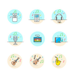 Set of multicolor music icons vector