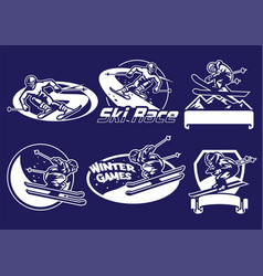 set of skiing badge collection vector image