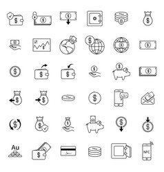 Set with money icons vector