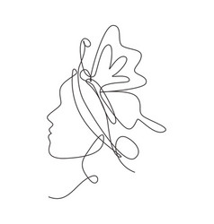 single continuous line drawing beauty woman vector image