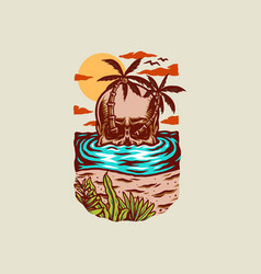 skull summer beach t-shirt graphic design vector image