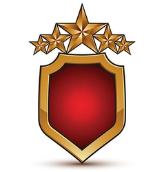 Sophisticated emblem with five golden stars 3d vector