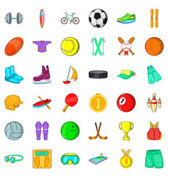 Sportsman icons set cartoon style vector