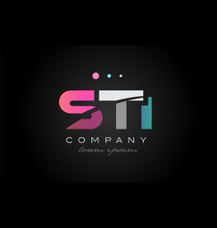 sti s t i three letter logo icon design vector image