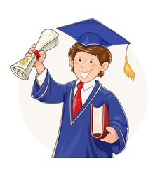 Student in graduate suit vector