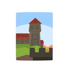 Summer landscape with fairytale kingdom cartoon vector