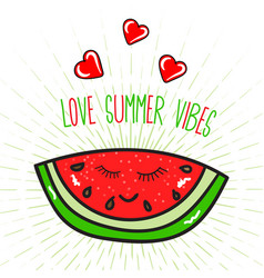 summer poster with watermelon vector image