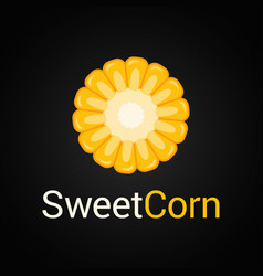 Sweet corn logo on black background vector