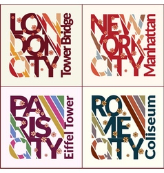 T-shirt design set NYC London Rome Paris vector