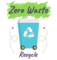 trash can with recycle sign rubbish container vector image