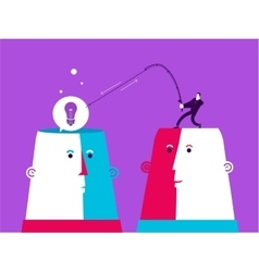 Two heads with man who catch the bulb vector