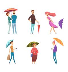 Umbrella people depressed characters in raining vector
