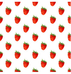 Watercolor seamless pattern with strawberries vector