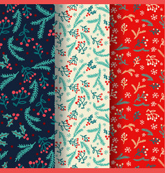 winter seamless pattern set with decorative winter vector image