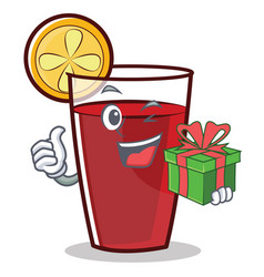 With gift mulled wine character cartoon vector
