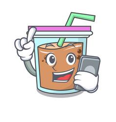 With phone bubble tea character cartoon vector