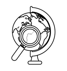 world planet with magnifying glass school supply vector image