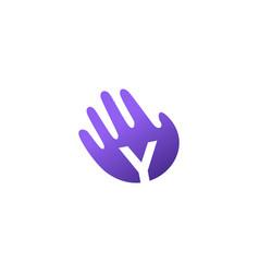 y letter hand palm hello logo icon vector image