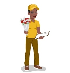 young boy courier holding bouquet of flowers vector image